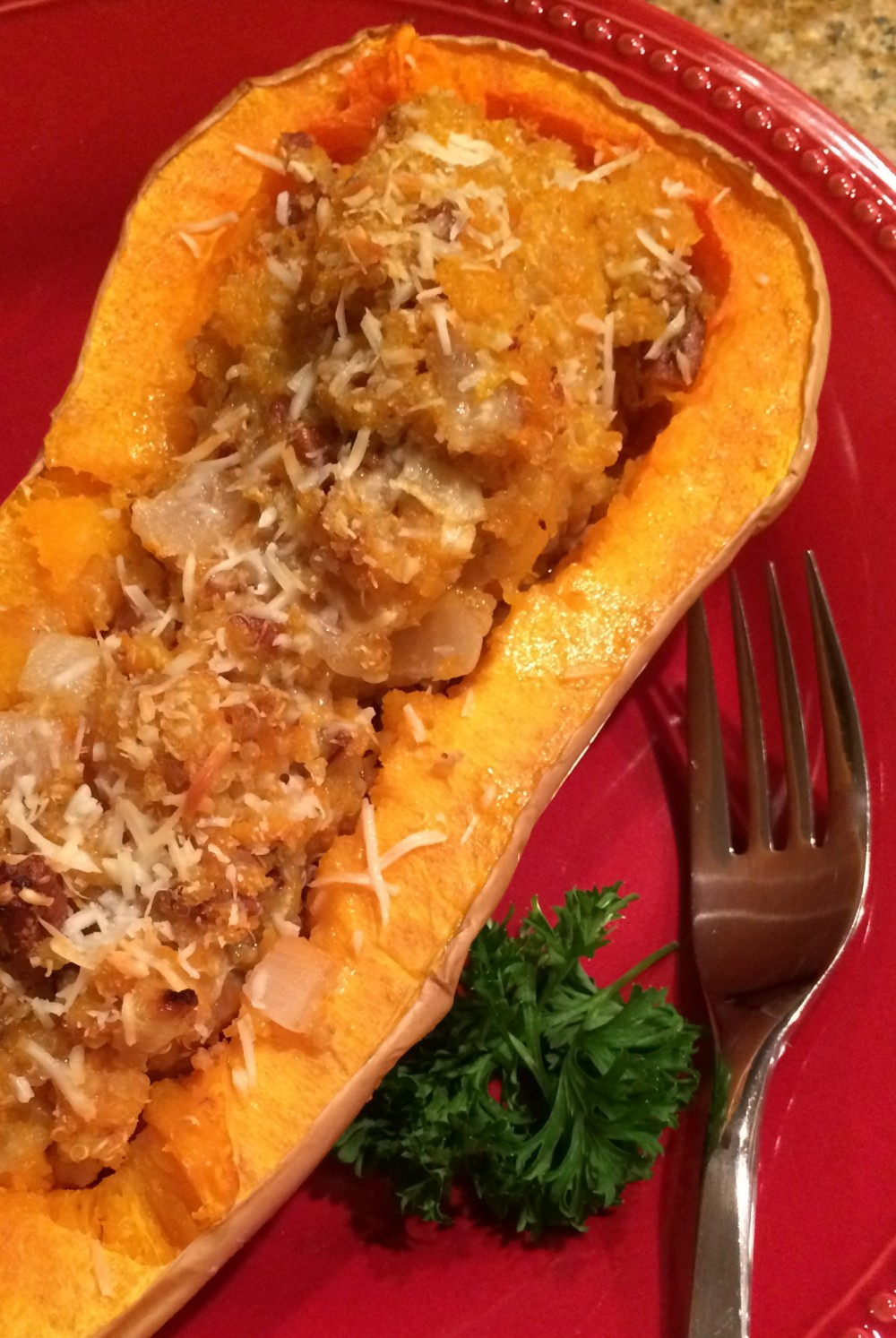 Twice Baked Butternut Squash with Quinoa