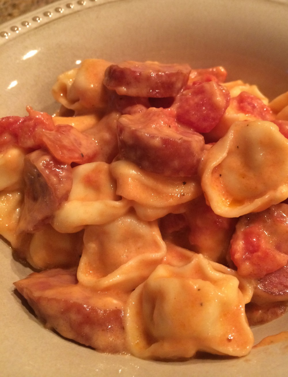 One Pot Sausage and Tortellini in Tomato Cream Sauce