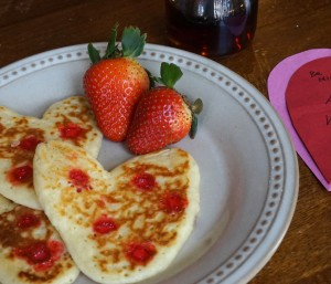 red hot heart pancakes