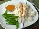 Chicken Skewers with Peanut Ginger Sauce and Coconut Rice