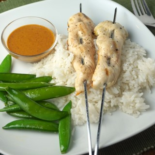 Chicken Skewers with Coconut Rice and Ginger Peanut Sauce