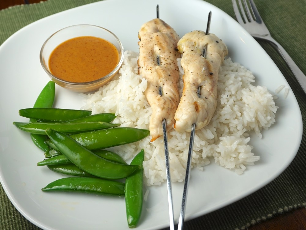 Chicken Skewers with Coconut Rice and Ginger Peanut Sauce - What's for ...