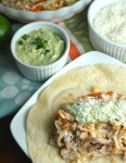 Pulled Pork Tacos with Avocado Cream Sauce